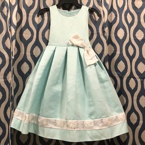 Little girls sea green and white formal dress
